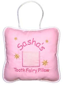 Girls Pink Stripe Tooth Fairy Pillow
